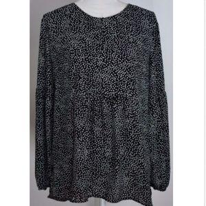 Ann Taylor Loft women's blouse top shirt large dot